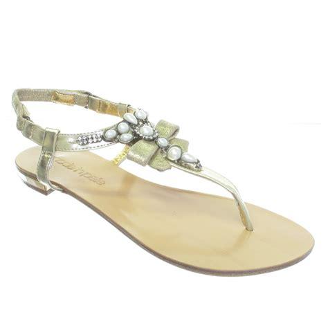 pearl flat sandals moda in pelle gold flat pearl toe post sandals size 7 ebay