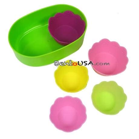 Silicon Die Cut Food Cup Tomica japanese bento silicone food cup 5pc 2 sizes for food cup