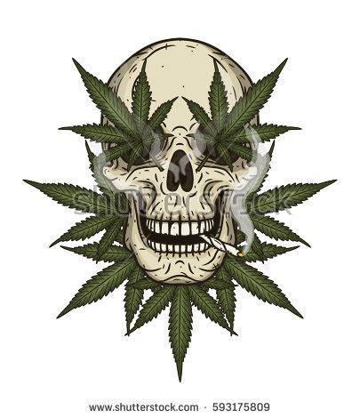 rastaman skull cannabis leafs stock vector 593175809