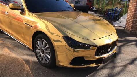 maserati chrome gold 마세라티 기블리 골드크롬 전체랩핑 maserati ghibli gold chrome warapping