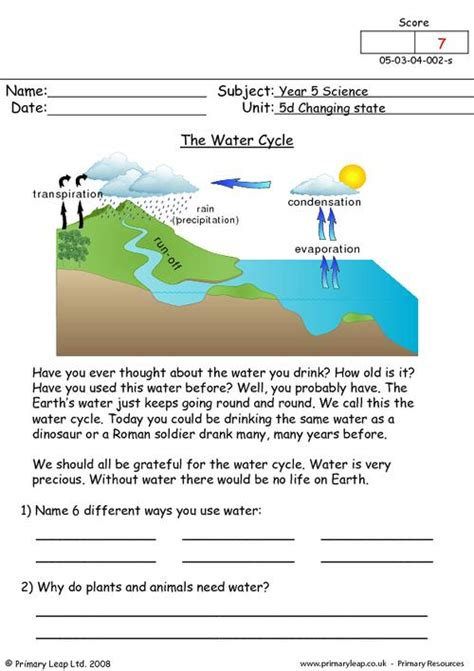 The Water Cycle Worksheet Answers by The Water Cycle Primaryleap Co Uk