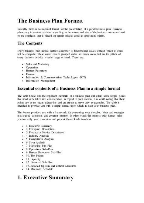 executive summary template format free project management templates