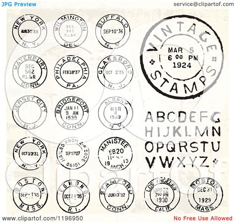 Clipart of Vintage Postmark Stamps and Letters - Royalty ... Free Black And White Clip Art Letters
