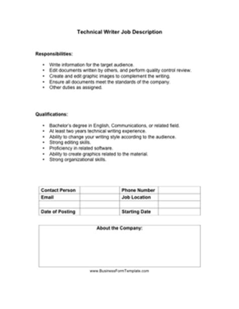 Technical Writer Description by Technical Writer Description Template