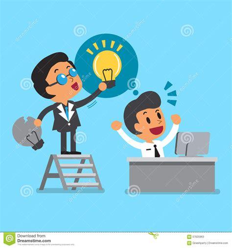 new idea cartoon business boss giving new idea to his employee