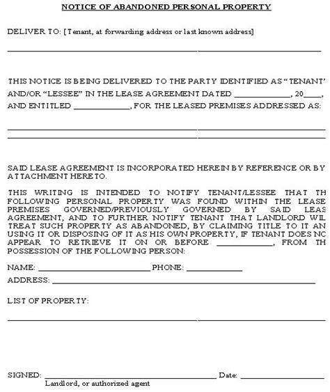 notice  abandoned personal property form property management pinterest  samples