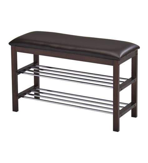 Furniture The Seat by Crema Shoe Rack With Seat In Walnut Finish By Furniture