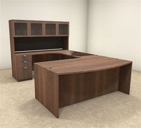 5pc U Shaped Modern Contemporary Executive Office Desk Set Office Desk U Shape