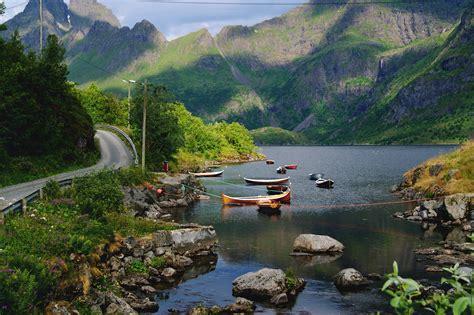 norway to paris by boat fonds d ecran norv 232 ge montagnes lac routes bateau pierres