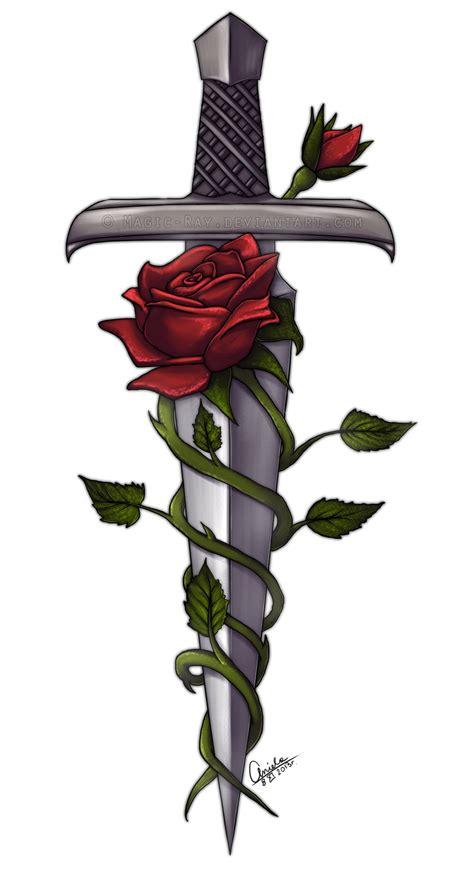 sword cross tattoo sword and roses by magic deviantart on deviantart