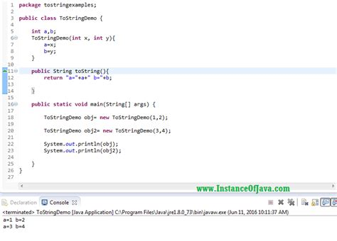java string template tostring method in java with exle program