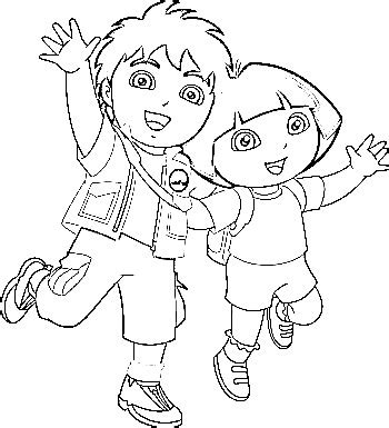 dora and diego coloring page dora diego coloring pages az coloring pages