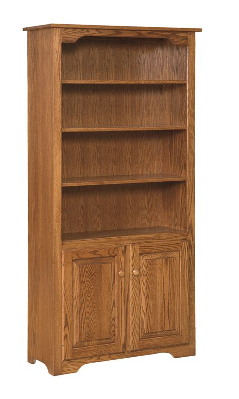 Bookcase Pine 6 Bookcase With Doors On Bottom Only Amish Furniture