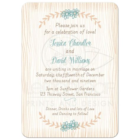 Chic Wedding Invitations by Woodgrain Boho Chic Wedding Invitation