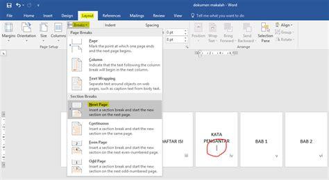 cara membuat nomor halaman berbeda dalam satu dokumen di cara membuat nomor halaman di ms word dua rupa