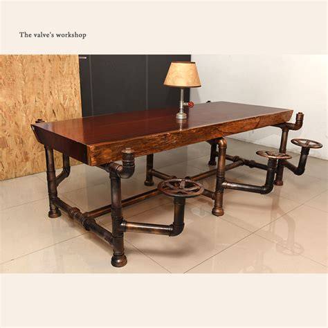 wood and pipe desk american industrial pipe office furniture golden years
