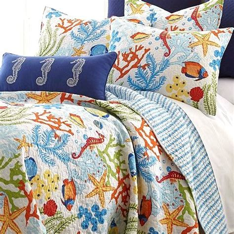 starfish bedding tropical fish coral starfish seashell quilt set