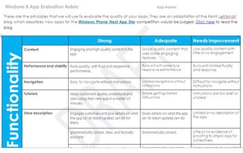 app design rubric windows 8 app assessment rubric