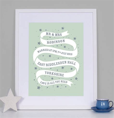 Wedding Prints by Personalised Ribbon Wedding Print By Modo Creative