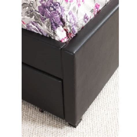carson single bed in brown faux leather with pull out guest