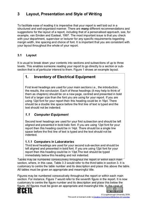 layout of a university report technical report writing