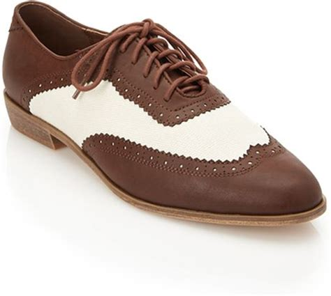 oxfords shoes forever 21 forever 21 canvas faux leather oxfords in brown brown