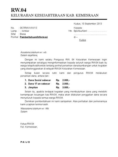 surat edaran dan surat pemberitahuan warga