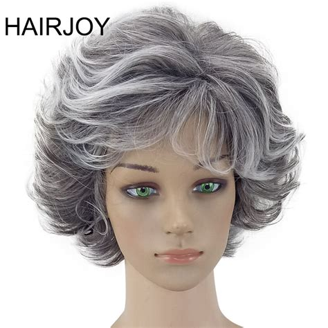 puffy bangs hairjoy women wig 2 tones grey white ombre synthetic short