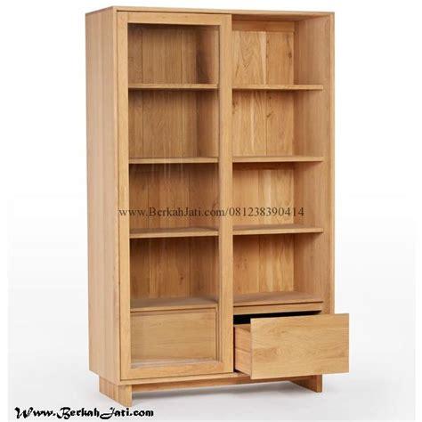 Rak Buku Besi Bekas rak buku minimalis pintu sliding laci berkah jati
