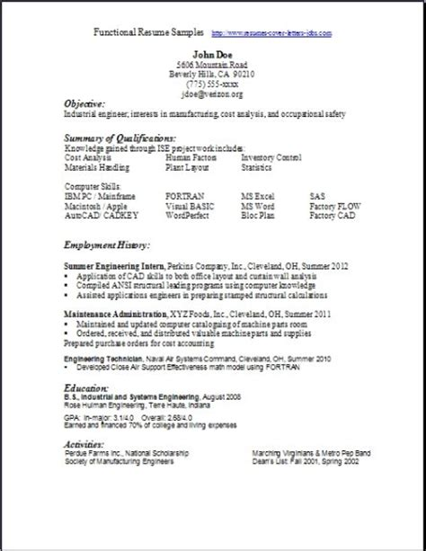 functional resume sles exles sles free edit with word