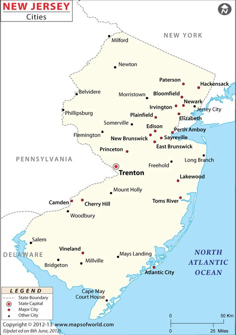 new jersey on the map of usa buy map of new jersey cities