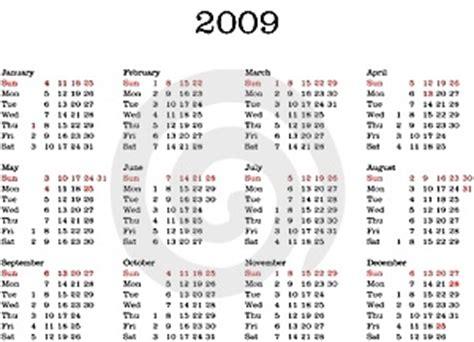 Kalender Englisch Calendar 2009 Stock Photos Image 7142213