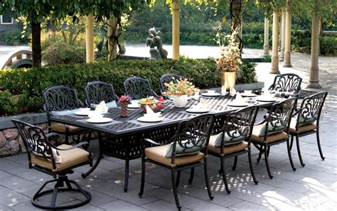 large patio table patio furniture dining set cast aluminum 120 quot rectangular