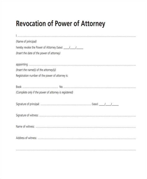 Free Printable Revocation Of Power Of Attorney Form