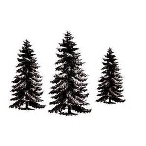 pine tree set 3 unmounted rubber stamps christmas winter