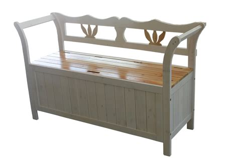 Bench With Storage White Wooden Seat Bench Chair Cabinet Storage Home Garden Patio Furniture New Ebay