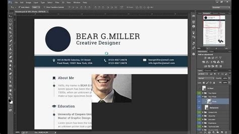 template photoshop cc resume cv editing with adobe photoshop cc youtube