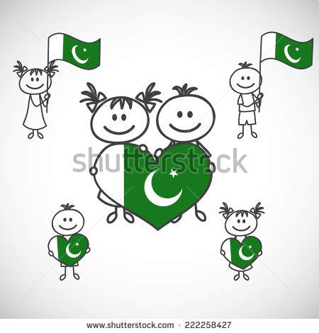 doodle do pakistan boy and holding flag on a white background