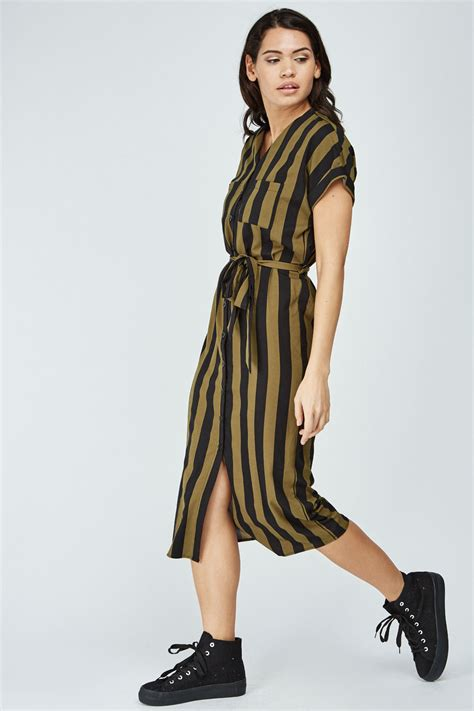 Striped Midi Shirt Dress striped midi shirt dress green black just 163 5