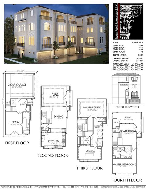 Town House Plan by Townhouse Plan E2049 A2 1 ஃ ᗩ R C H