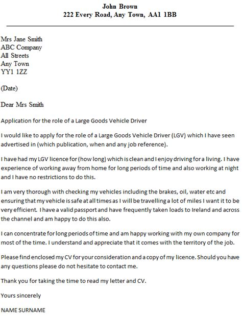 Employment Letter As A Driver Lgv Driver Cover Letter Exle Icover Org Uk