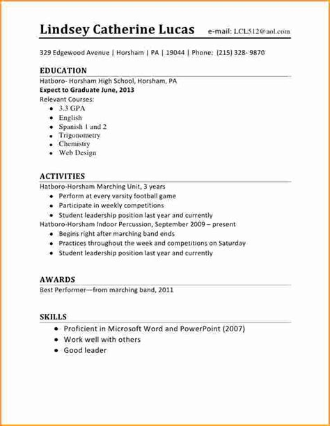 Sle Internship Resume For Highschool Students Resume Format Pdf For Students 28 Images Internship