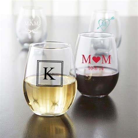 wedding favors wine glasses monogram personalized stemless wine glasses personalized