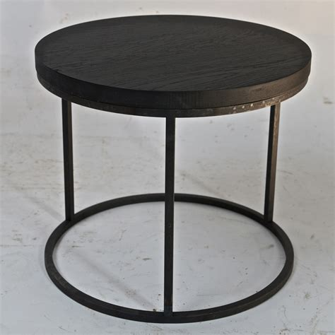 Iron Side Table Belgian Black Oak Top And Cast Iron Side Table Omero Home