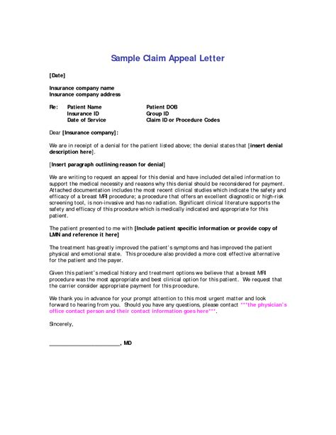 Letter Format For Health Insurance Claim best photos of appeal letters exles