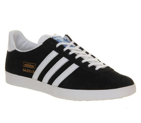 adidas gazelle black mens adidas gazelle og black white metallic gold trainers