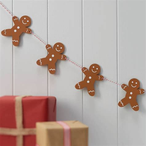 wooden gingerbread man christmas hanging bunting by ginger