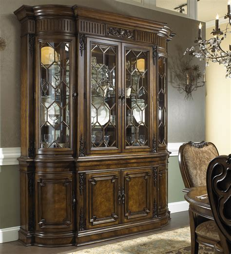 formal antique style break front china cabinet with buffet