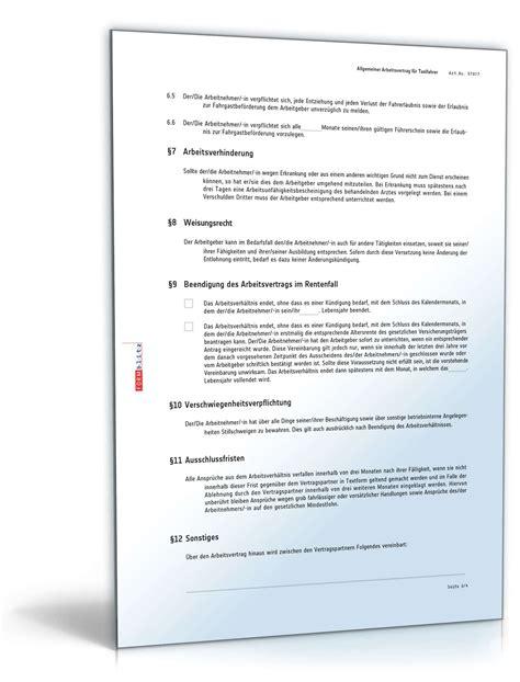 Word Vorlage F R Ordnerr Cken Arbeitsvertrag F 252 R Taxifahrer Muster Als Pdf Und Word