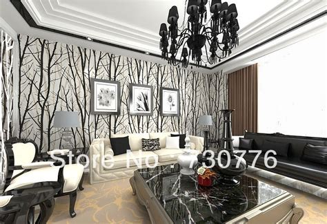 black and white wallpaper living room aliexpress buy modern brief style pvc wallpaper roll black white abstract tree 10cm for